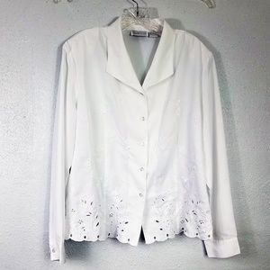 Apparenza Embroidered Crochet Button Down Blouse